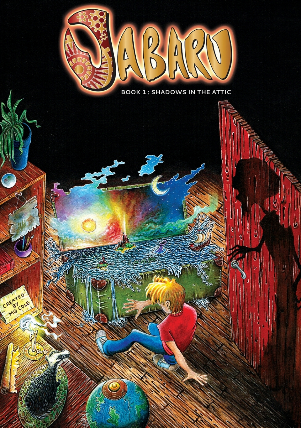 Jabaru webcomic cover page book 1 with a boy looking into a chest with an ocean inside of it